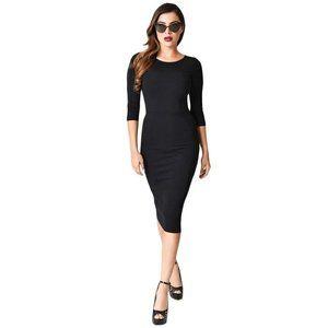 Unique Vintage Mod Wiggle Dress Black